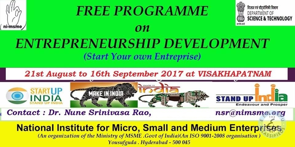 Start Your Own Business Free Training At Visakhapatnam