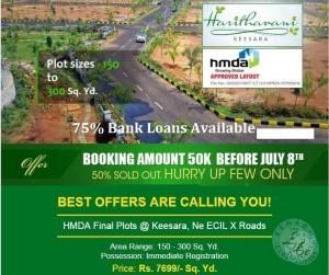 Zero Margin Sale HMDA Villa Plots 15 Mins From ECIL Booking Amount 50,000 Only