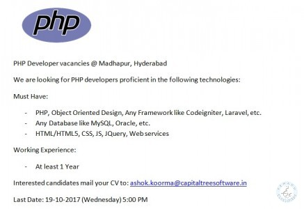 PHP Job Vacancies - Hyderabad