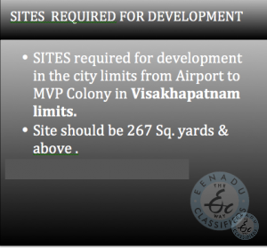 purchase sites for development in MVP colony vizag
