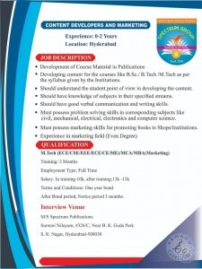 Jobs In S.R.Nagar Hyderabad For M.Tech Or MCA Candidates