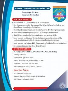 Content Developers Jobs In S.R.Nagar Hyderabad